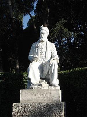 پیکرهی فردوسی از ابوالحسن صدیقی در میدان فردوسی شهر رم